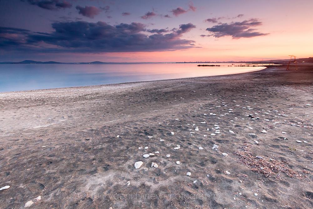 Sarafovo shoreline at sunset in springtime