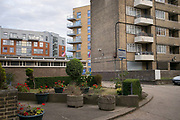 Guinness Trust estate grounds and partial building site on 29th July 2015 in Lambeth South London, United Kingdom. An area of major regeneration in the Brixton area of Lambeth.