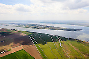Nederland, Zuid-Holland, Hoeksche Waard, 09-05-2013; Harinvliet met eiland Tiengemeten, Korendijkse Slikken in de voorgrond.<br /> Isalnd in river mouth, between South Holland and Zealand.<br /> luchtfoto (toeslag op standard tarieven)<br /> aerial photo (additional fee required)<br /> copyright foto/photo Siebe Swart