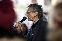 © Licensed to London News Pictures. 31/10/2020. Manchester, UK. Piers Corbyn arrives to speak as people gather tightly and without masks at Piccadilly Gardens, Manchester for an anti-lockdown protest. Corbyn requested people move closer to him when he arrived to shorten distance between people. Photo credit: Kerry Elsworth/LNP