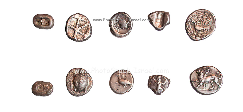 Ancient Greek coins 3rd - 5th century BCE. Left to right. 1. Kroisos 560-546BCE, 2. Aegina 510-490 BCE, 3. Sicily Akragas 510-472 BCE, 4. Lydia 450-330 BCE, 5. Sikyon 430-390 BCE