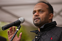 Luton, UK. 5th May, 2012. Cllr Tahir Khan addresses the We Are Luton/Stop The EDL rally, organised by We Are Luton and Unite Against Fascism in protest against a march by the far-right English Defence League.