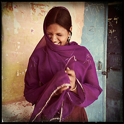 "iPhone portrait of Babli Maayida, approximate age 14, in a village outside of Banswara, Rajasthan, India, April 6, 2013. ""I did not like it when they said they want to get me married. I said, 'I'm very young right now and I don't want to get married. I want to study. . . . I'm a child,"" said Maayida.<br />