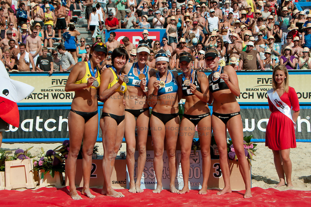 06-08-2011 VOLLEYBAL: FIVB WORLD TOUR GRANDSLAM: KLAGENFURT<br /> The winning team Kerri Walsh and Misty May-Treanor of USA, second place for Chen Xue and Xi Zhang of China and third place for Marleen Van Iersel and Sanne Keizer of Netherland at A1 Beach Volleyball Grand Slam tournament of Swatch FIVB World Tour 2011<br /> ©2011-FotoHoogendoorn.nl / Matic Klansek Velej