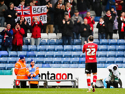 Bristol City's Luke Ayling applauds the away support - Photo mandatory by-line: Matt McNulty/JMP - Mobile: 07966 386802 - 03/04/2015 - SPORT - Football - Oldham - Boundary Park - Oldham Athletic v Bristol City - Sky Bet League One
