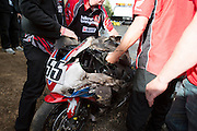 June 26-30 - Pikes Peak, Colorado. Wreckage of Alex Moreno's bike after the 91st running of the Pikes Peak Hill Climb.