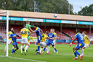 Brighton and Hove Albion goalkeeper Carl Rushworth (62) punches clear during the EFL Trophy Southern Group G match between AFC Wimbledon and Brighton and Hove Albion U21 at The People's Pension Stadium, Crawley, England on 22 September 2020.