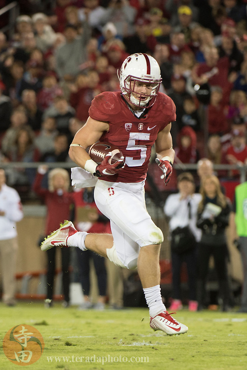 November 14, 2015; Stanford, CA, USA; Stanford Cardinal running back Christian McCaffrey (5) scores a touchdown during the second quarter against the Oregon Ducks at Stanford Stadium. The Ducks defeated the Cardinal 38-36.