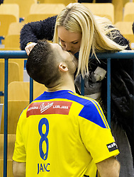 Blaz Janc of RK Celje PL with his girlfriend after the handball match between RK Celje Pivovarna Lasko and RK Gorenje Velenje in Eighth Final Round of Slovenian Cup 2015/16, on December 10, 2015 in Arena Zlatorog, Celje, Slovenia. Photo by Vid Ponikvar / Sportida