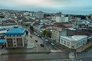 Rainy view of Punta Arenas, Magellanes, Chile from the Hotel Dreams del Estrecho.