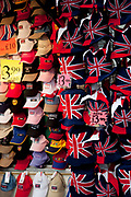 Hats for sale at a stall on Oxford Street in Central London. This is a busy shopping area full of all the main high street chain stores.