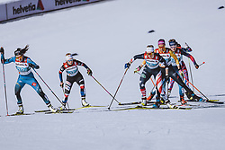 28.02.2021, Oberstdorf, GER, FIS Weltmeisterschaften Ski Nordisch, Oberstdorf 2021, Damen, Langlauf, Teamsprint, Freestyle, im Bild v.l.: Lena Quintin (FRA), Sadie Maubet Bjornsen (USA) // f.l.: Lena Quintin of France Sadie Maubet Bjornsen of USA during women Cross Country team sprint freestyle competition of the FIS Nordic Ski World Championships 2021 in Oberstdorf, Germany on 2021/02/28. EXPA Pictures © 2021, PhotoCredit: EXPA/ Dominik Angerer