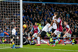 Romelu Lukaku of Everton beats Brad Guzan of Aston Villa to score his sides 3rd goal of the game - Mandatory byline: Rogan Thomson/JMP - 01/03/2016 - FOOTBALL - Villa Park Stadium - Birmingham, England - Aston Villa v Everton - Barclays Premier League.