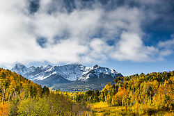 Autumn snow at Dallas Peak from Last Dollar Road in the San Juan Mountains of Southwest Colorado.