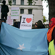 London, England, UK. 29th October 2017. Somalis Islam against terrorism protest against the bombing on 14th October in Mogadishu outside downing Street.