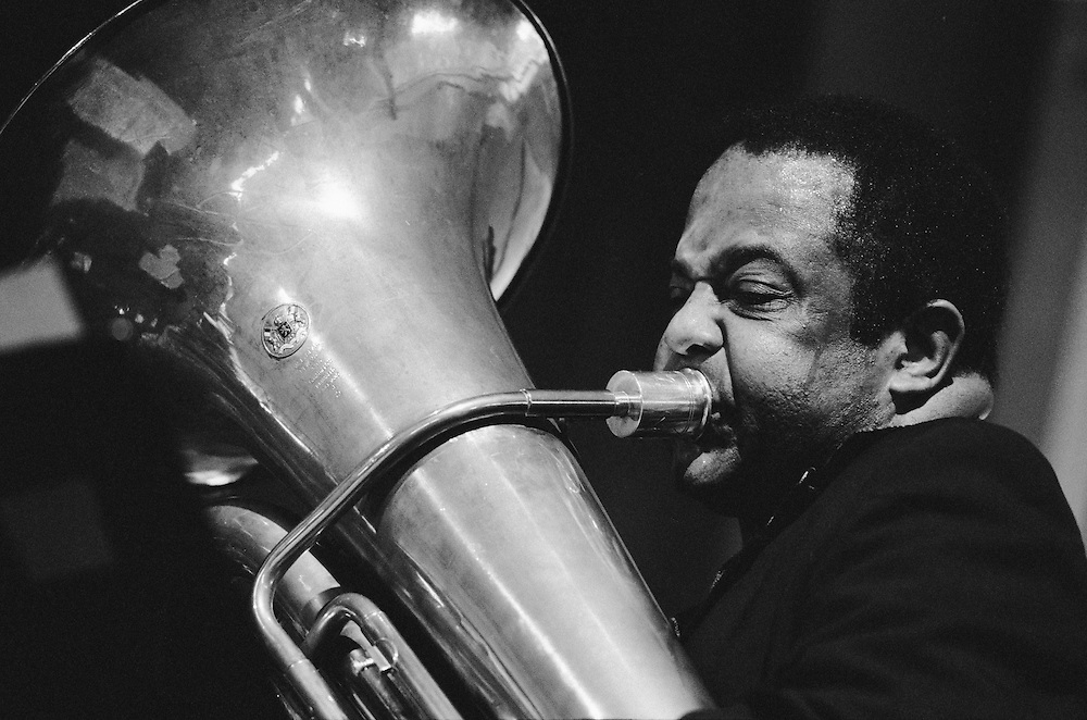 One of the top tuba soloists since the early '60s, Howard Johnson performs in the Jazz Tent on the WWOZ stage at the New Orleans Jazz and Heritage Festival on April 28, 2001 in New Orleans, Louisiana. USA. A 20x24 inch print of this photo is in the permanent collection of the Ogden Museum of Southern Art in New Orleans. Camera: Leica R8 / Lens: 180mm f/2.8 Elmarit-R / Film: Fuji Neopan 1600