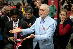© Licensed to London News Pictures. 02/11/2019. Swindon, UK. Labour Party Leader Jeremy Corbyn with supporters at Commonweal Sixth Form College in Swindon during a campaign rally ahead of the general election on 12 December. Photo credit: Rob Pinney/LNP