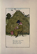 There was an Old lady / Lived under a hill / and if she's not gone / she lives there still // from the book Mother Goose : or, The old nursery rhymes by Kate Greenaway, Engraved and Printed by Edmund Evans published in 1881 by George Routledge and Sons London nad New York