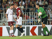 Photo: AF Wrofoto/Sportsbeat Images.<br />Sparta Prague v Arsenal. UEFA Champions League Qualifying. 15/08/2007.<br />Alex Hleb of Arsenal  with Tomas Repka of Sparta and keeper Tomas Postulka