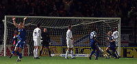 Fotball, Leeds United's Dominic Matteo looks on as his deflection goes on for an own goal.