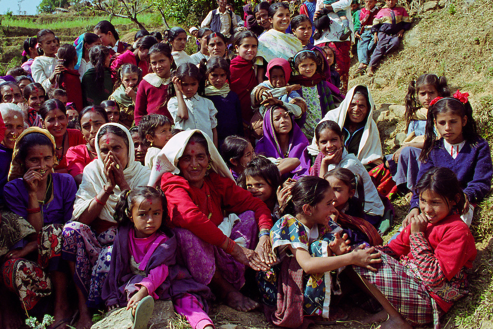 Nepalese locals gathering in the foothills of the Himalayas, Nepal