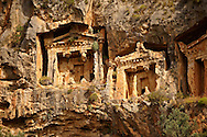 The Hellenistic temple fronted Tombs of Kaunos,  4th - 2nd cent. B.C , just outside the archaeological site of Kounos on the oposite side of the Calbys river from Dalyan, Turkey. Kaunos is on the border of Lycia & Caria and the Kaunos rock tombs differ slightly form Lycian tombs in that the rock surrounding them has been carved away to maje almost free standing temple buildings.<br /> <br /> If you prefer to buy from our ALAMY PHOTO LIBRARY  Collection visit : https://www.alamy.com/portfolio/paul-williams-funkystock/dalyan-lycian-tombs-and-kaunos.html<br /> <br /> Visit our TURKEY PHOTO COLLECTIONS for more photos to download or buy as wall art prints https://funkystock.photoshelter.com/gallery-collection/3f-Pictures-of-Turkey-Turkey-Photos-Images-Fotos/C0000U.hJWkZxAbg