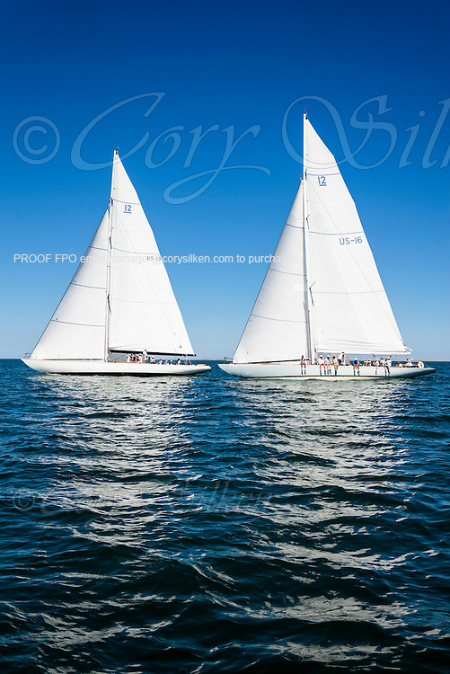 Weatherly and Columbia sailing in the Nantucket 12 Metre Class Regatta.