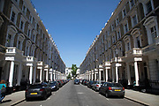 Exclusive and expensive real estate housing in Notting Hill in West London, England, United Kingdom. Homes here fetch huge sums and while some are available with fixed low rentals, most are only accessible to the wealthy.