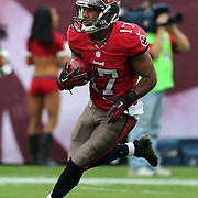 Tampa Bay Buccaneers wide receiver Eric Page (17) runs during an NFL football game between the San Francisco 49ers  and the Tampa Bay Buccaneers on Sunday, December 15, 2013 at Raymond James Stadium in Tampa, Florida.. (Photo/Alex Menendez)