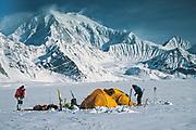 Camp under Mt Foraker on Kahiltna glacier, ski expedition to travberse Denali, Mt McKinley, Alaska