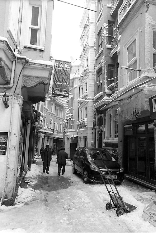The Tünel neighborhood of Istanbul in the snow.