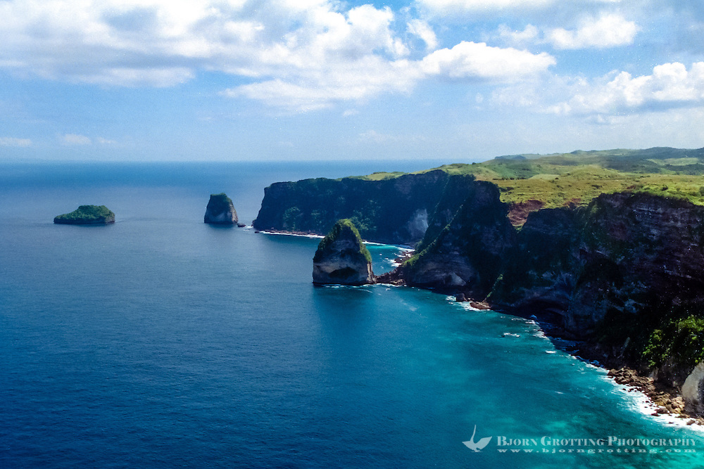 Steep cliffs on the southern coast of Nusa Penida (from helicopter)