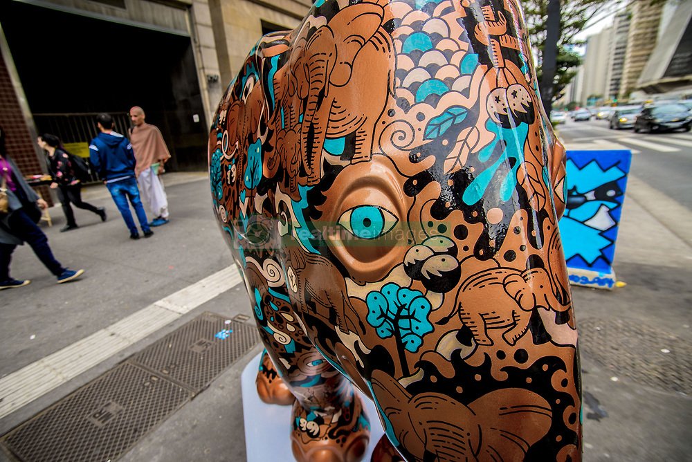 August 1, 2017 - Sao Paulo, Brazil - A herd of 85 elephants will spread through the streets of São Paulo from this Tuesday (1st), when the city receives the Elephant Parade. The show brings to the capital of São Paulo sculptures in the format of the animal, made by Brazilian artists, and goes until August 31. The action was created by the Dutchman Mike Spits in 2007, to raise awareness of the importance of preserving the species. At the end of the exhibition, a charity auction will raise funds for entities such as the Brazilian Elephants Sanctuary, which works to rescue these animals in South America. (Credit Image: © Cris Faga/NurPhoto via ZUMA Press)