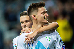 Petar Stojanović of Slovenia and Benjamin Verbic of Slovenia celebrate after scoring first goal during the 2020 UEFA European Championships group G qualifying match between Slovenia and Israel at SRC Stozice on September 9, 2019 in Ljubljana, Slovenia. Photo by Ziga Zupan / Sportida