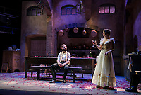 """Jean played by Nicholas Wilder and Miss Julie played by Rebecca Tucker on stage at the Winnipesaukee Playhouse during dress rehearsal Tuesday evening for their upcoming production of """"Miss Julie"""".  (Karen Bobotas/for the Laconia Daily Sun)"""