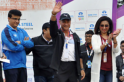 December 16, 2018 - Kolkata, West Bengal, India - CAB President Sourav Ganguly,  International Event Ambassador of Tata Steel Kolkata 25K, Greg Louganis, Miss Asia Pacific 2018, Suparna Mukherjee  (left to right) during Tata Steel Kolkata 25K 2018. (Credit Image: © Saikat Paul/Pacific Press via ZUMA Wire)