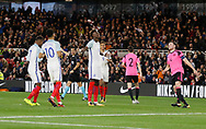 Goal celebration by Tammy Abraham of England during the U21 UEFA EURO first qualifying round match between England and Scotland at the Riverside Stadium, Middlesbrough, England on 6 October 2017. Photo by Paul Thompson.