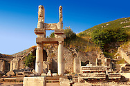 The entrance to the Temple of Emperor Domitian ( 81-96 AD) . Ephesus Archaeological Site, Anatolia, Turkey. .<br /> <br /> If you prefer to buy from our ALAMY PHOTO LIBRARY  Collection visit : https://www.alamy.com/portfolio/paul-williams-funkystock/ephesus-celsus-library-turkey.html<br /> <br /> Visit our TURKEY PHOTO COLLECTIONS for more photos to download or buy as wall art prints https://funkystock.photoshelter.com/gallery-collection/3f-Pictures-of-Turkey-Turkey-Photos-Images-Fotos/C0000U.hJWkZxAbg