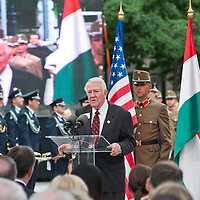 Edwin Meese (C) former minister of justice for the USA delivers his speech during the inauguration of the new statue of Ronald Reagan on the square named Freedom in Budapest, Hungary. Wednesday, 29. June 2011. ATTILA VOLGYI
