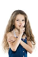 caucasian little girl portrait ask silence isolated studio on white background