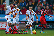 Walsall   striker Amadou Bakayoko (20) is fouled by Bradford City defender James Meredith (3)  during the EFL Sky Bet League 1 match between Walsall and Bradford City at the Banks's Stadium, Walsall, England on 17 December 2016. Photo by Simon Davies.