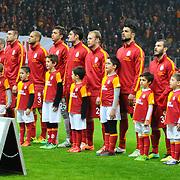 Galatasaray's players during their Turkish superleague soccer derby match Galatasaray between Trabzonspor at the AliSamiYen spor kompleksi TT Arena in Istanbul Turkey on Sunday, 22 December 2013. Photo by TURKPIX