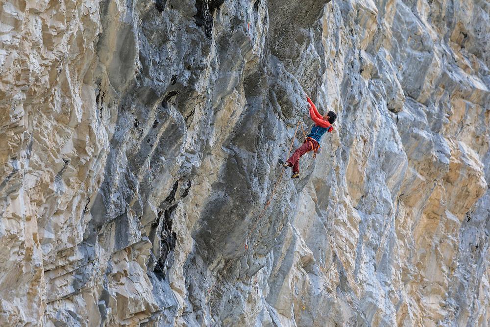 Evan Hau Climbing Fudge Packer, 5.13d at Planet X in Canmore, Alberta
