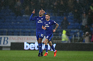 Kenneth Zohore of Cardiff city (10) celebrates after he scores his teams 1st goal. EFL Skybet championship match, Cardiff city v Fulham at the Cardiff city stadium in Cardiff, South Wales on Boxing Day, Tuesday 26th December 2017.<br /> pic by Andrew Orchard, Andrew Orchard sports photography.