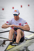 Poznan, POLAND, Friday, 21/06/2019, NOR M1X, Kjetil  BORCH,  Visualising his hand position, movement through the stroke, core balance, before the start of his heat, FISA World Rowing Cup II, Malta Lake Course, [© Peter SPURRIER/Intersport Images[,