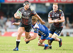 DURBAN, SOUTH AFRICA - APRIL 21:Juan Schoeman of the Cell C Sharks during the Super Rugby match between Cell C Sharks and DHL Stormers at Jonsson Kings Park on April 21, 2018 in Durban, South Africa. Picture Leon Lestrade/African News Agency/ANA