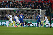 Alfie Mawson of Swansea city (6) scores his teams 1st goal. Premier league match, Swansea city v Leicester City at the Liberty Stadium in Swansea, South Wales on Sunday 12th February 2017.<br /> pic by Andrew Orchard, Andrew Orchard sports photography.