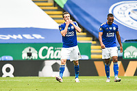 LEICESTER, ENGLAND - JULY 04: Jamie Vardy of Leicester City (left) celebrates after scoring his sides first goal and his sides second as Youri Tielemans of Leicester City looks on during the Premier League match between Leicester City and Crystal Palace at The King Power Stadium on July 4, 2020 in Leicester, United Kingdom. Football Stadiums around Europe remain empty due to the Coronavirus Pandemic as Government social distancing laws prohibit fans inside venues resulting in all fixtures being played behind closed doors. (Photo by MB Media)