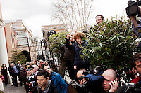 ROME, ITALY - MARCH 10: U.S. and Italian media, as well as well/wishers, gather at the entrance of the Our Lady of Guadalupe church as U.S. Cardinal Timothy Dolan enters to give a Sunday Mass, in Rome, Italy, on March 10, 2013. Cardinals are set to enter the conclave to elect a successor to Pope Benedict XVI after he became the first pope in 600 years to resign from the role. The conclave is scheduled to start on March 12 inside the Sistine Chapel and will be attended by 115 cardinals as they vote to select the 266th Pope of the Catholic Church...Gianni Cipriano for The New York Times