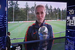 Sarina Wiegman accepts the FIFA Women's Coach of the Year via video link during the Best FIFA Football Awards 2017 at the Palladium Theatre, London.